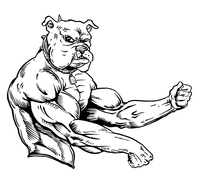 Weightlifting Bulldog Mascot Decal / Sticker 4 ^This white rectangle is NOT part of the decal^
