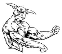 Weightlifting Bull Mascot Decal / Sticker 3