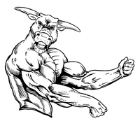 Weightlifting Bull Mascot Decal / Sticker 3