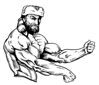Weightlifting Frontiersman Mascot Decal / Sticker 4