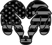 IR American Flag Ram Decal / Sticker 05