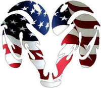 American Flag Ram Decal / Sticker