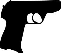 Hand Gun Decal / Sticker 01