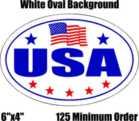 USA Country Oval Decal / Sticker With American Flag in BULK