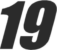 19 Race Number Impact Font Decal / Sticker