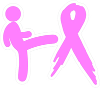Kicking Breast Cancer's Ass Decal / Sticker 01