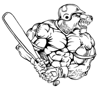 Baseball Batting Bear Mascot Decal / Sticker