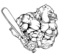 Baseball Bulldog Mascot Decal / Sticker 05