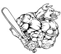 Baseball Bull Mascot Decal / Sticker 05