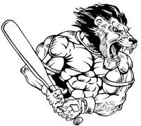 Baseball Lions Mascot Decal / Sticker 3