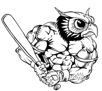 Baseball Owls Mascot Decal / Sticker 2