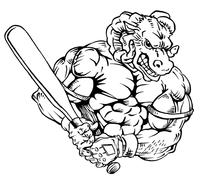 Baseball Rams Mascot Decal / Sticker 2
