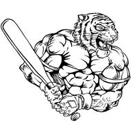 Baseball Tigers Mascot Decal / Sticker 2