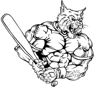 Baseball Wildcats Mascot Decal / Sticker 2
