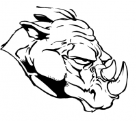 CUSTOM RHINO MASCOT DECALS AND RHINO MASCOT STICKERS