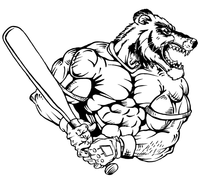 Baseball Wolverines / Badgers Mascot Decal / Sticker 2