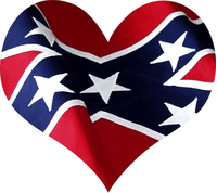 Confederate Flag Heart Decal / Sticker 03