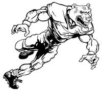 Football Bear Mascot Decal / Sticker 06