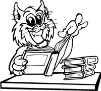 Bobcat Studying Mascot Decal / Sticker