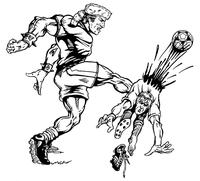 Soccer Frontiersman Mascot Decal / Sticker 1