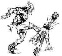 Soccer Vikings Mascot Decal / Sticker 1