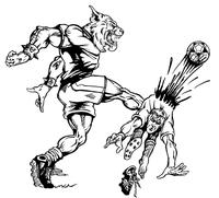 Soccer Wildcats Mascot Decal / Sticker 1