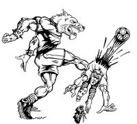 Soccer Wolves Mascot Decal / Sticker 1