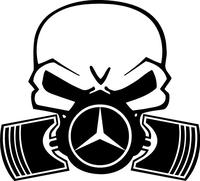 Mercedes Piston Gas Mask Skull Decal / Sticker 06