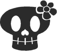 Flower Skull Decal / Sticker 14