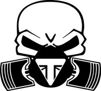 Triumph Piston Gas Mask Skull Decal / Sticker 42