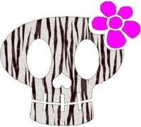 Flower Skull White Tiger Print Decal / Sticker 14