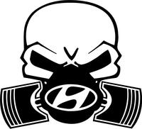 Hyundai Piston Gas Mask Skull Decal / Sticker 03