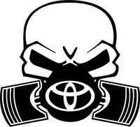 Toyota Piston Gas Mask Skull Decal / Sticker 03