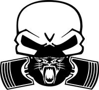 Arctic Cat Piston Gas Mask Skull Decal / Sticker 14