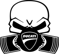 Ducati Piston Gas Mask Skul Decal / Sticker 27