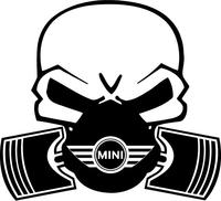Mini Cooper Piston Gas Mask Skull Decal / Sticker 05