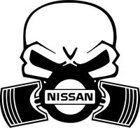 Nissan Piston Gas Mask Skull Decal / Sticker 01