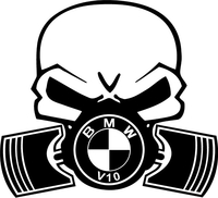 BMW V10 Piston Gas Mask Skull Decal / Sticker 36