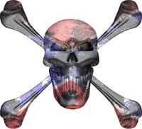 Confederate Flag Skull and Cross Bones Decal / Sticker 07