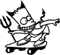 Bart Devil Skate Board decal / sticker
