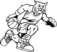 Basketball Bobcat Mascot Decal / Sticker