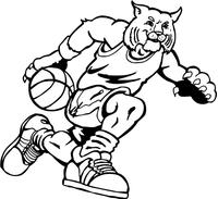 Basketball Bobcat Mascot Decal / Sticker