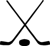 Crossed Hockey Sticks and Puck Decal / Sticker