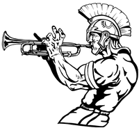 Trojans Mascot Playing Trumpet Decal / Sticker