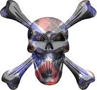 Confederate Flag Skull and Cross Bones Decal / Sticker 09