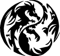 Yin Yang Dragon Decal / Sticker 07