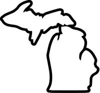 Michigan Outline Decal / Sticker 02