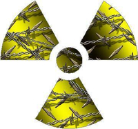 Yellow Barbed Wire Radiation Decal / Sticker