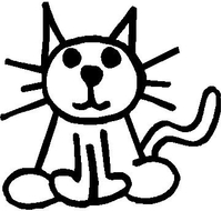 Cat Stick Figure Decal / Sticker 02