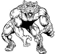 Wrestling Leopards Mascot Decal / Sticker 2